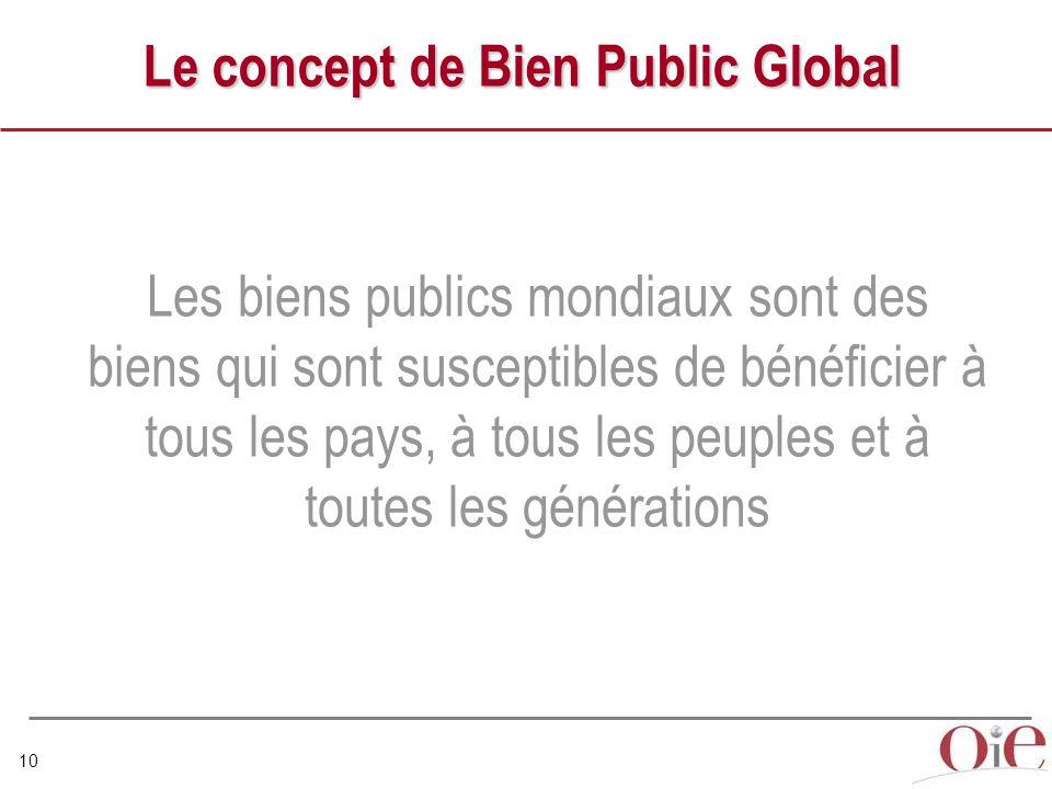 10 Le concept de Bien Public Global Les biens publics mondiaux sont des biens qui sont susceptibles de bénéficier à tous les pays, à tous les peuples et à toutes les générations