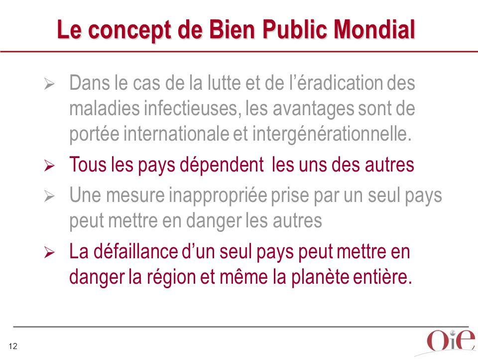 12 Le concept de Bien Public Mondial  Dans le cas de la lutte et de l'éradication des maladies infectieuses, les avantages sont de portée internationale et intergénérationnelle.