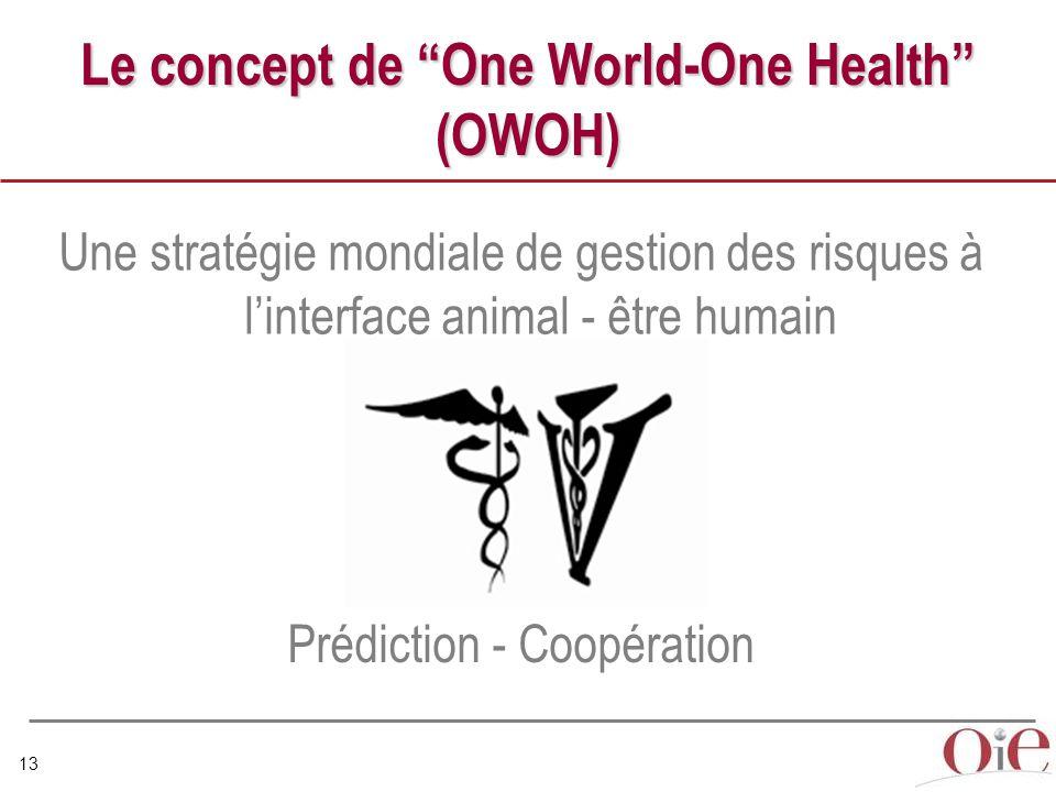 13 Le concept de One World-One Health (OWOH) Une stratégie mondiale de gestion des risques à l'interface animal - être humain Prédiction - Coopération