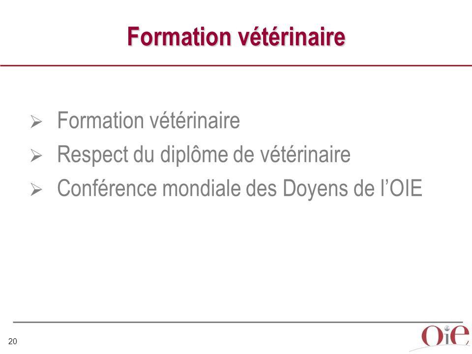 20 Formation vétérinaire  Formation vétérinaire  Respect du diplôme de vétérinaire  Conférence mondiale des Doyens de l'OIE