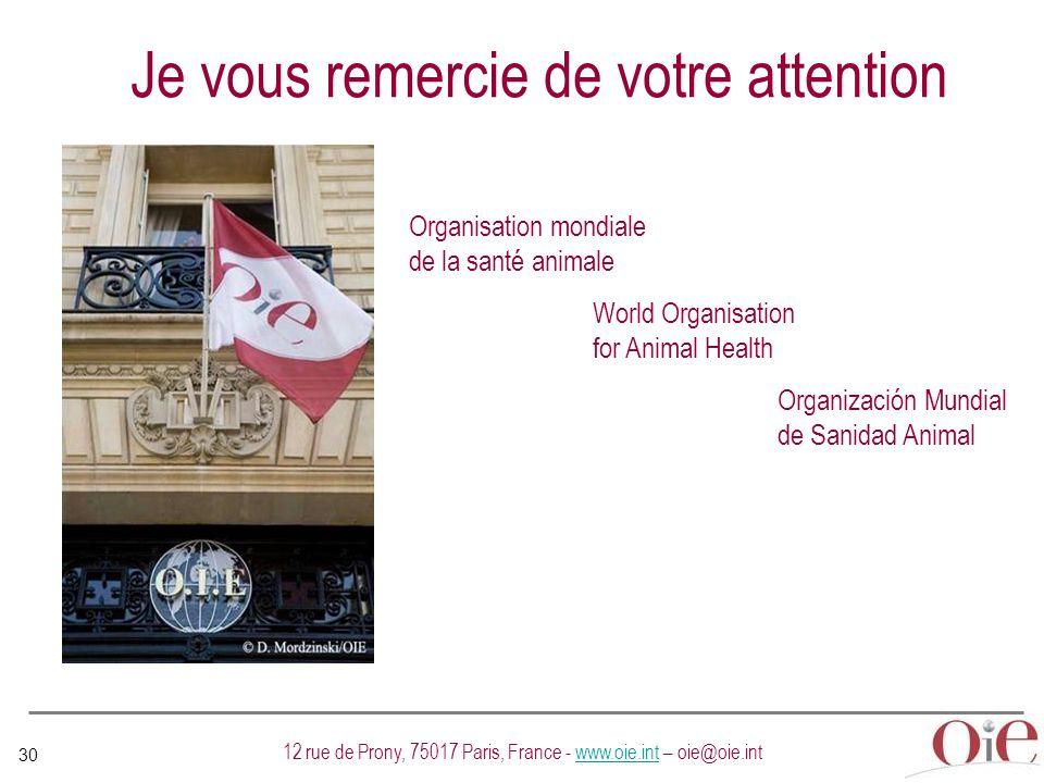 30 12 rue de Prony, 75017 Paris, France - www.oie.int – oie@oie.intwww.oie.int Organisation mondiale de la santé animale World Organisation for Animal Health Organización Mundial de Sanidad Animal Je vous remercie de votre attention