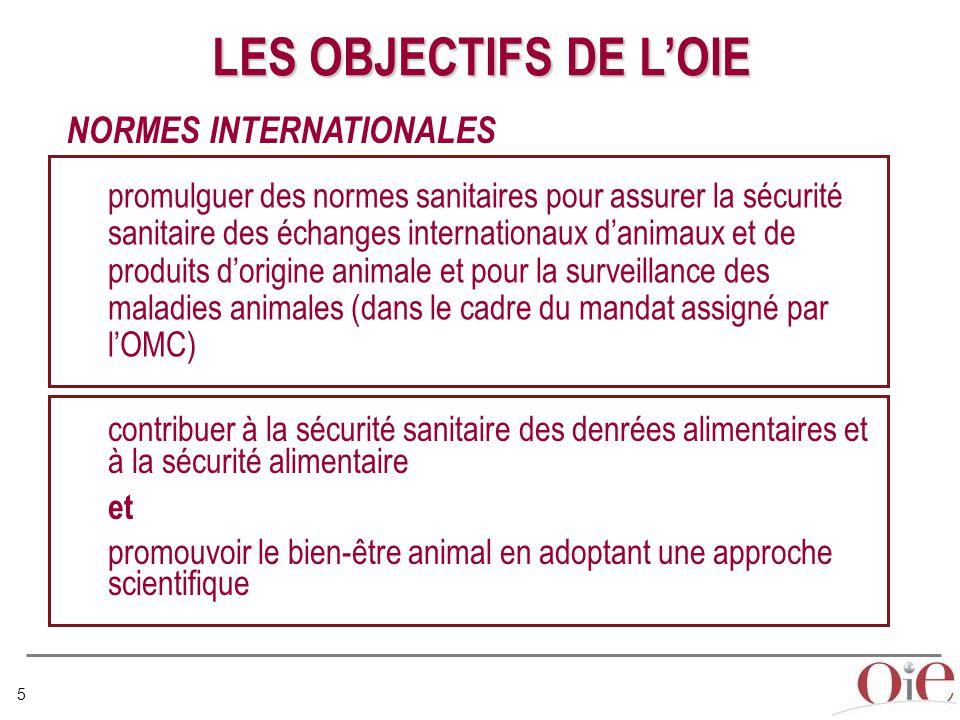 5 NORMES INTERNATIONALES LES OBJECTIFS DE L'OIE promulguer des normes sanitaires pour assurer la sécurité sanitaire des échanges internationaux d'animaux et de produits d'origine animale et pour la surveillance des maladies animales (dans le cadre du mandat assigné par l'OMC) contribuer à la sécurité sanitaire des denrées alimentaires et à la sécurité alimentaire et promouvoir le bien-être animal en adoptant une approche scientifique