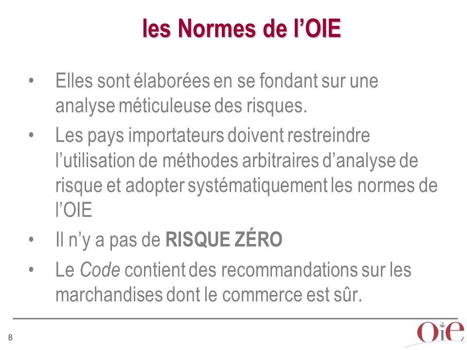 8 les Normes de l'OIE Elles sont élaborées en se fondant sur une analyse méticuleuse des risques.