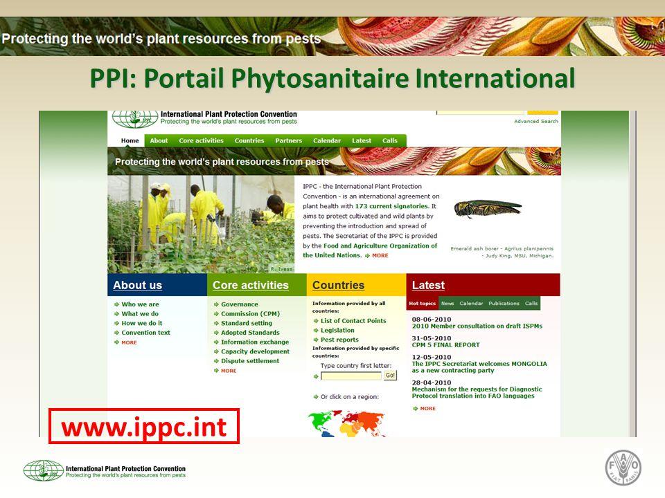 PPI: Portail Phytosanitaire International www.ippc.int