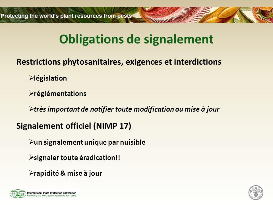 Obligations de signalement Restrictions phytosanitaires, exigences et interdictions  législation  réglémentations  très important de notifier toute