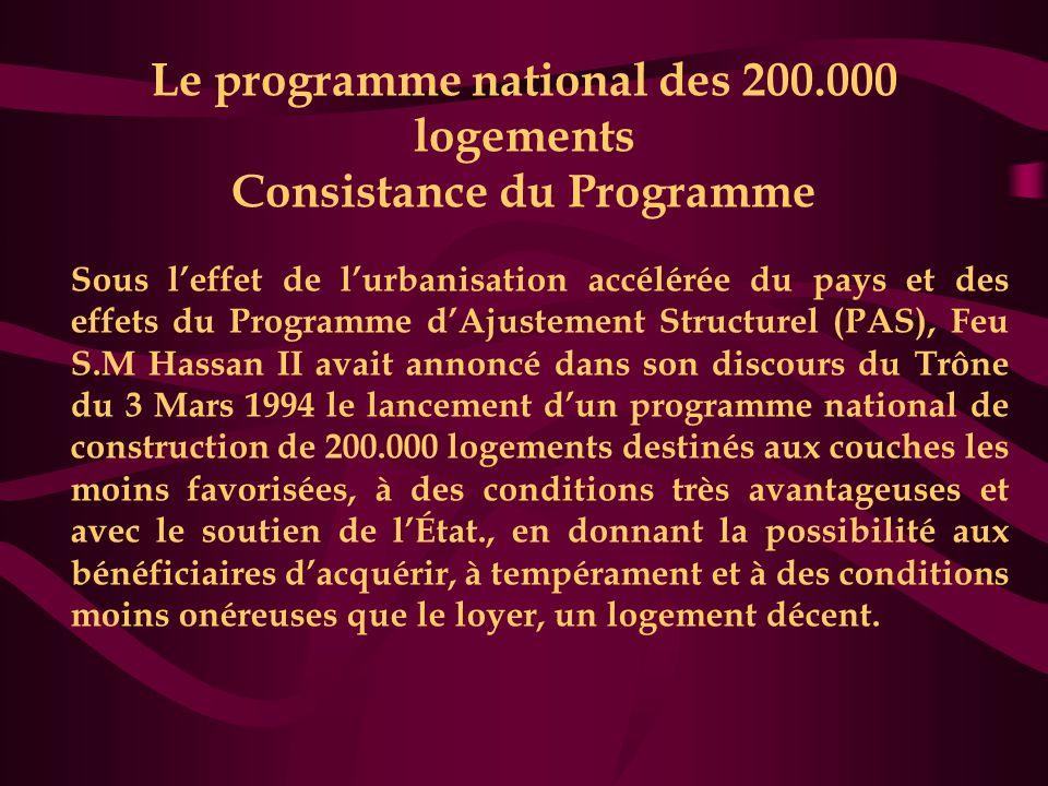 Le programme national des 200.000 logements Consistance du Programme Sous l'effet de l'urbanisation accélérée du pays et des effets du Programme d'Aju