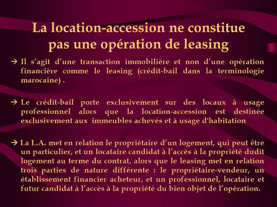La location-accession ne constitue pas une opération de leasing  Il s'agit d'une transaction immobilière et non d'une opération financière comme le l
