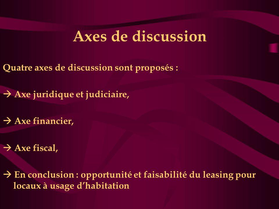 Axes de discussion Quatre axes de discussion sont proposés :  Axe juridique et judiciaire,  Axe financier,  Axe fiscal,  En conclusion : opportunité et faisabilité du leasing pour locaux à usage d'habitation