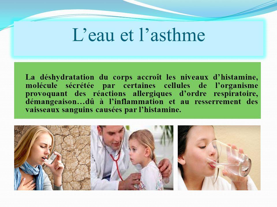 La déshydratation du corps accroît les niveaux d'histamine, molécule sécrétée par certaines cellules de l'organisme provoquant des réactions allergiques d'ordre respiratoire, démangeaison…dû à l'inflammation et au resserrement des vaisseaux sanguins causées par l'histamine.