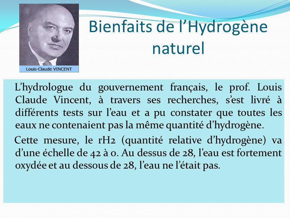 Bienfaits de l'Hydrogène naturel L'hydrologue du gouvernement français, le prof. Louis Claude Vincent, à travers ses recherches, s'est livré à différe