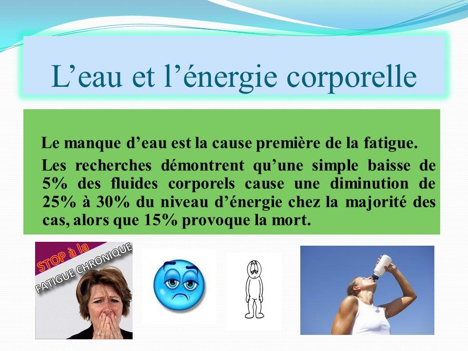 L'eau et l'énergie corporelle Le manque d'eau est la cause première de la fatigue. Les recherches démontrent qu'une simple baisse de 5% des fluides co
