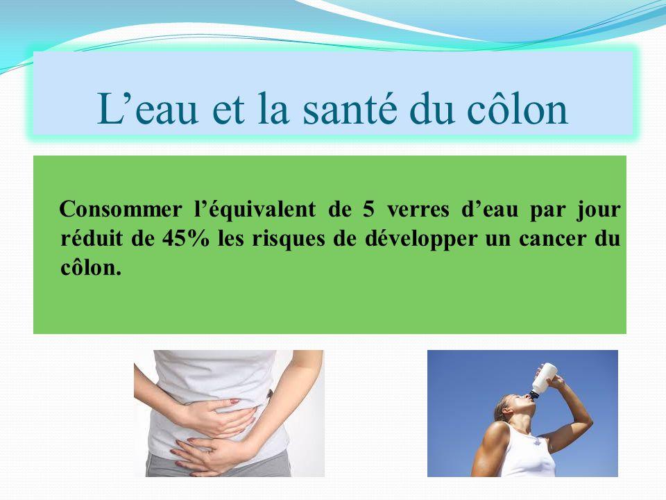 L'eau et la santé du côlon Consommer l'équivalent de 5 verres d'eau par jour réduit de 45% les risques de développer un cancer du côlon.