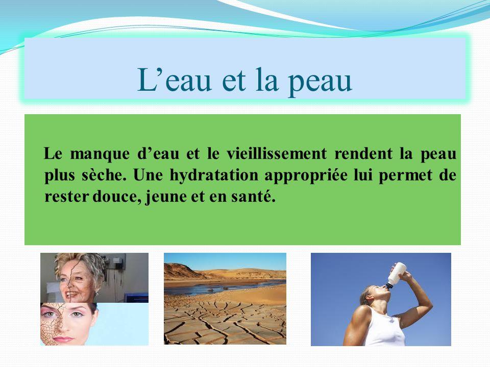 L'eau et la peau Le manque d'eau et le vieillissement rendent la peau plus sèche. Une hydratation appropriée lui permet de rester douce, jeune et en s
