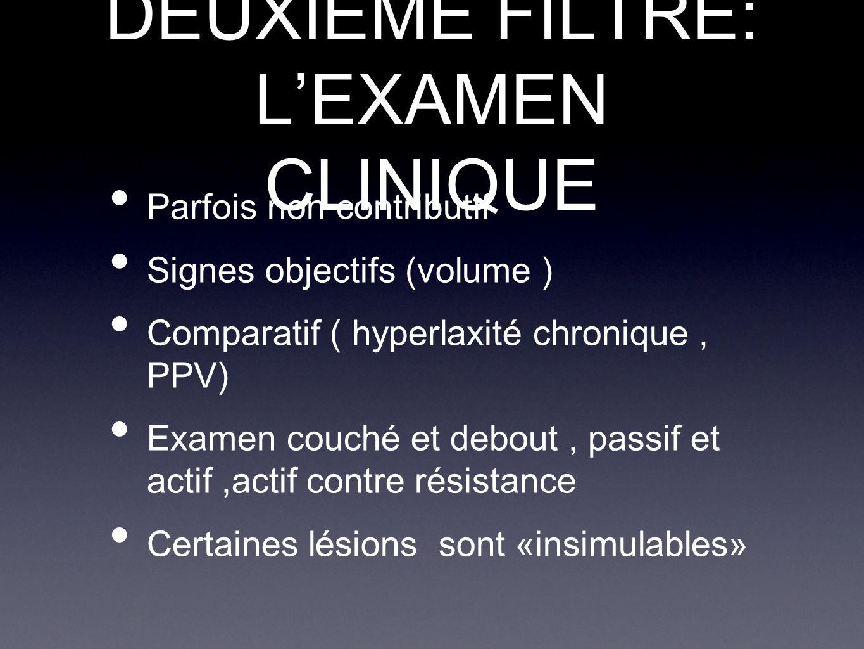 DEUXIEME FILTRE: L'EXAMEN CLINIQUE Parfois non contributif Signes objectifs (volume ) Comparatif ( hyperlaxité chronique, PPV) Examen couché et debout