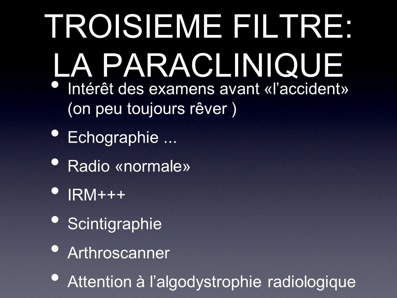 TROISIEME FILTRE: LA PARACLINIQUE Intérêt des examens avant «l'accident» (on peu toujours rêver ) Echographie... Radio «normale» IRM+++ Scintigraphie