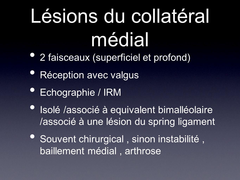Lésions du collatéral médial 2 faisceaux (superficiel et profond) Réception avec valgus Echographie / IRM Isolé /associé à equivalent bimalléolaire /a