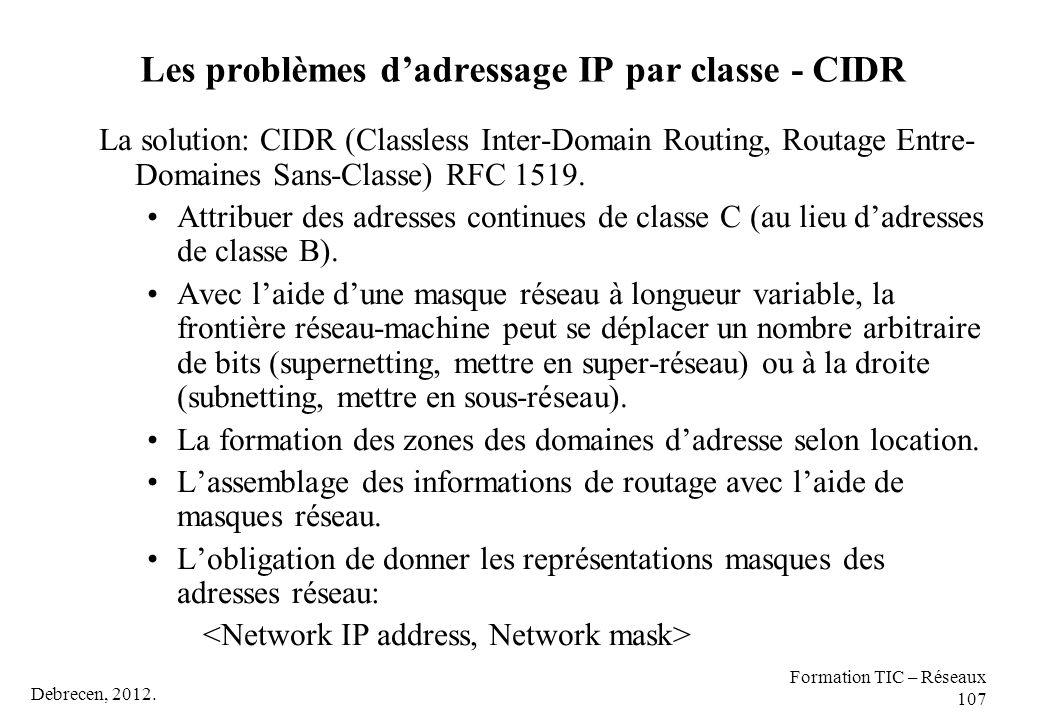 Debrecen, 2012. Formation TIC – Réseaux 107 Les problèmes d'adressage IP par classe - CIDR La solution: CIDR (Classless Inter-Domain Routing, Routage