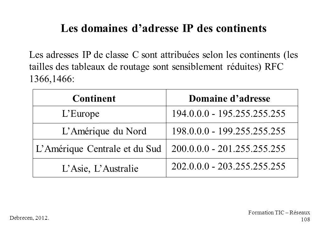 Debrecen, 2012. Formation TIC – Réseaux 108 Les domaines d'adresse IP des continents Les adresses IP de classe C sont attribuées selon les continents