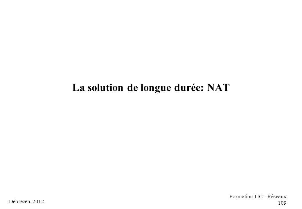 Debrecen, 2012. Formation TIC – Réseaux 109 La solution de longue durée: NAT