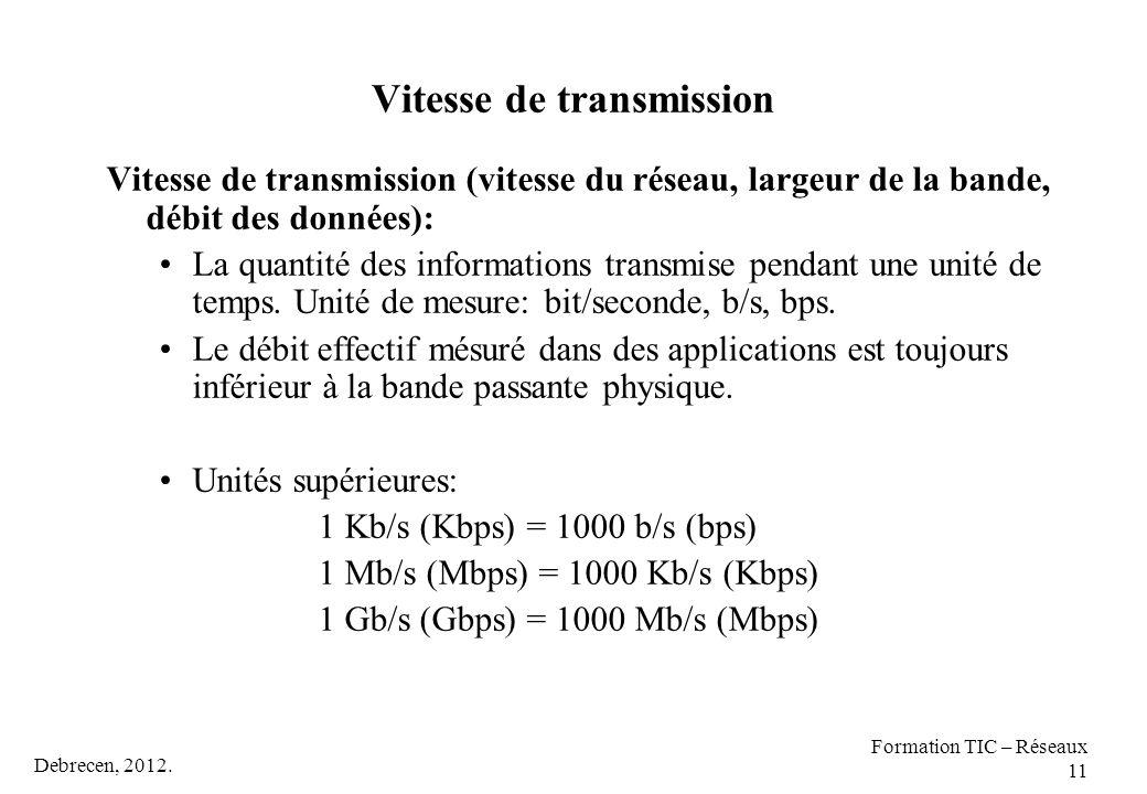 Debrecen, 2012. Formation TIC – Réseaux 11 Vitesse de transmission Vitesse de transmission (vitesse du réseau, largeur de la bande, débit des données)