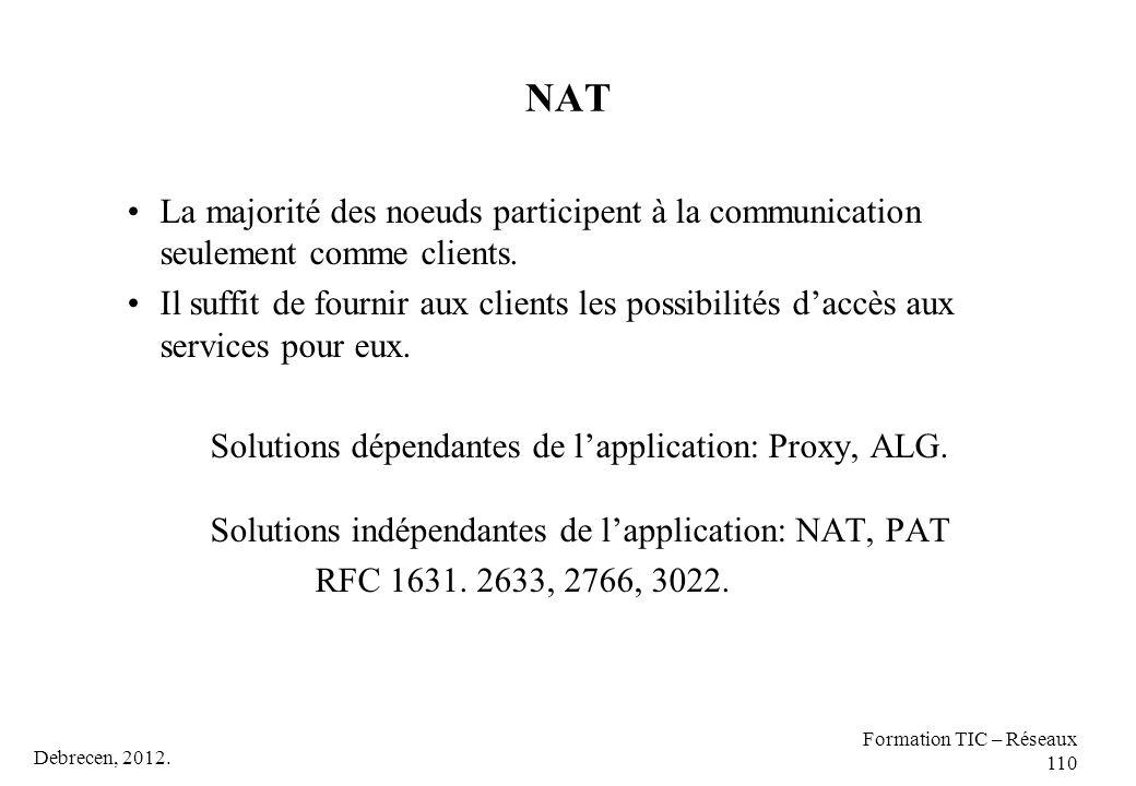 Debrecen, 2012. Formation TIC – Réseaux 110 NAT La majorité des noeuds participent à la communication seulement comme clients. Il suffit de fournir au