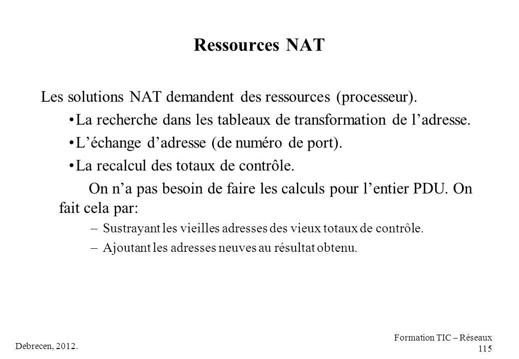 Debrecen, 2012. Formation TIC – Réseaux 115 Ressources NAT Les solutions NAT demandent des ressources (processeur). La recherche dans les tableaux de