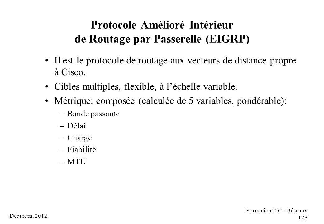 Debrecen, 2012. Formation TIC – Réseaux 128 Protocole Amélioré Intérieur de Routage par Passerelle (EIGRP) Il est le protocole de routage aux vecteurs