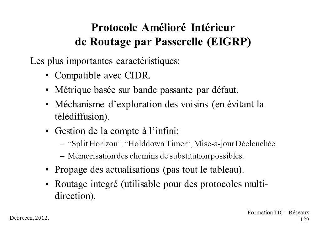 Debrecen, 2012. Formation TIC – Réseaux 129 Protocole Amélioré Intérieur de Routage par Passerelle (EIGRP) Les plus importantes caractéristiques: Comp