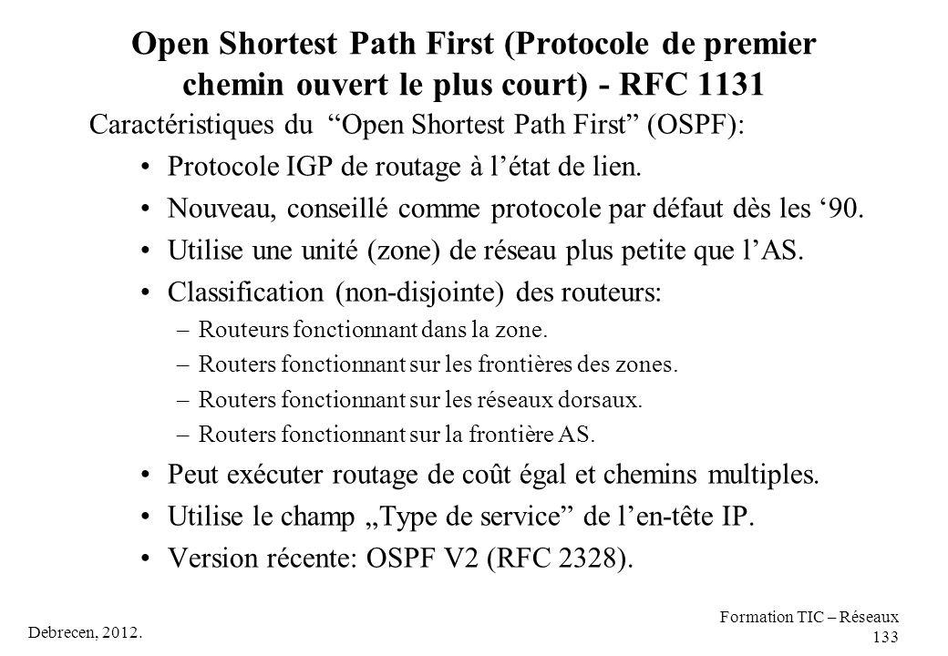 Debrecen, 2012. Formation TIC – Réseaux 133 Open Shortest Path First (Protocole de premier chemin ouvert le plus court) - RFC 1131 Caractéristiques du