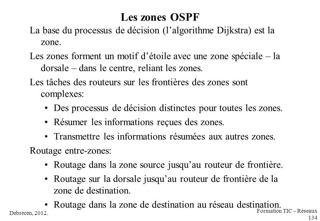 Debrecen, 2012. Formation TIC – Réseaux 134 Les zones OSPF La base du processus de décision (l'algorithme Dijkstra) est la zone. Les zones forment un