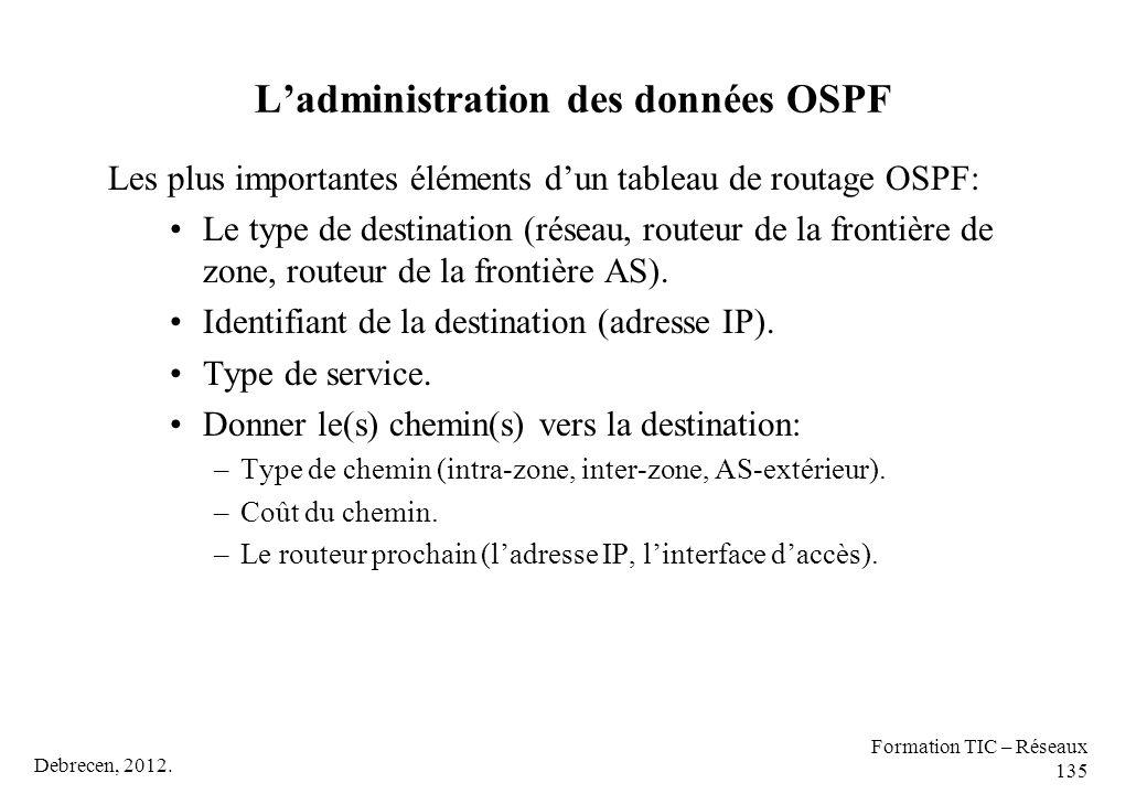 Debrecen, 2012. Formation TIC – Réseaux 135 L'administration des données OSPF Les plus importantes éléments d'un tableau de routage OSPF: Le type de d