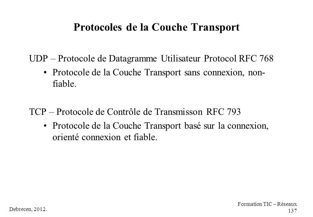 Debrecen, 2012. Formation TIC – Réseaux 137 Protocoles de la Couche Transport UDP – Protocole de Datagramme Utilisateur Protocol RFC 768 Protocole de