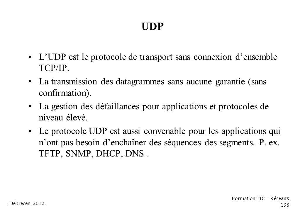 Debrecen, 2012. Formation TIC – Réseaux 138 UDP L'UDP est le protocole de transport sans connexion d'ensemble TCP/IP. La transmission des datagrammes