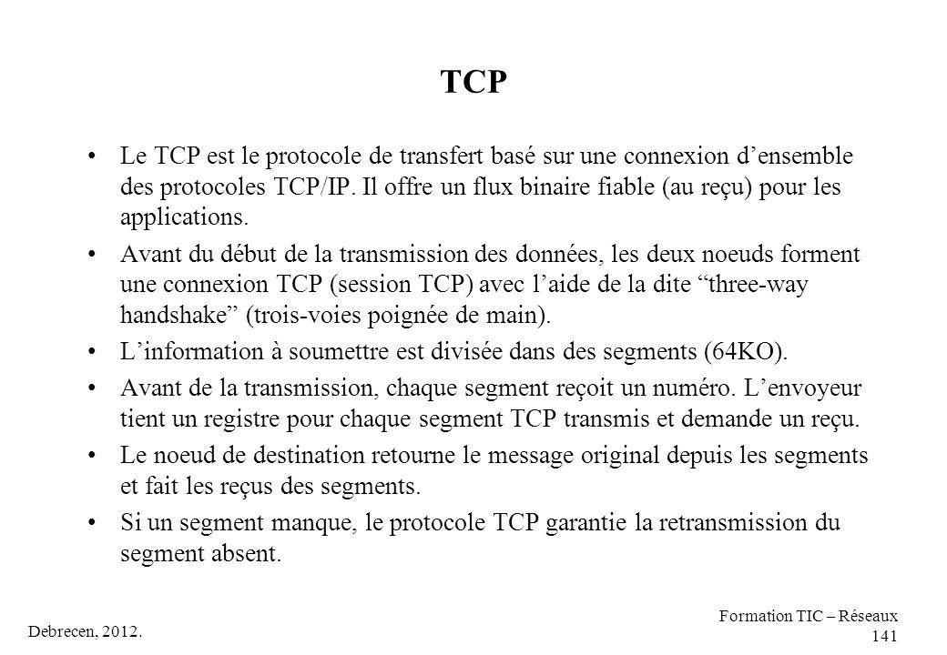 Debrecen, 2012. Formation TIC – Réseaux 141 TCP Le TCP est le protocole de transfert basé sur une connexion d'ensemble des protocoles TCP/IP. Il offre