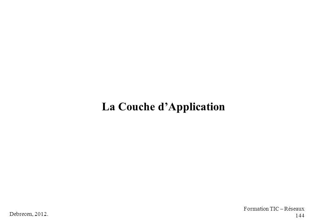 Debrecen, 2012. Formation TIC – Réseaux 144 La Couche d'Application