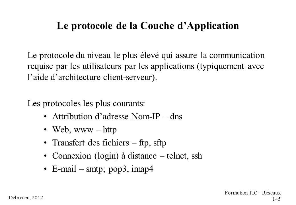 Debrecen, 2012. Formation TIC – Réseaux 145 Le protocole de la Couche d'Application Le protocole du niveau le plus élevé qui assure la communication r