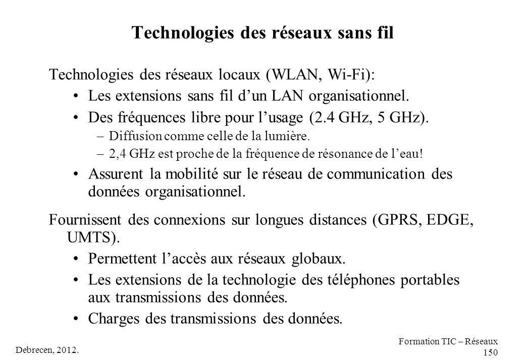 Debrecen, 2012. Formation TIC – Réseaux 150 Technologies des réseaux sans fil Technologies des réseaux locaux (WLAN, Wi-Fi): Les extensions sans fil d