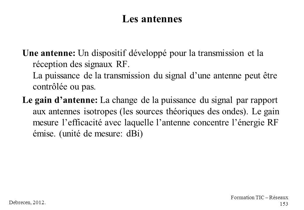 Debrecen, 2012. Formation TIC – Réseaux 153 Les antennes Une antenne: Un dispositif développé pour la transmission et la réception des signaux RF. La