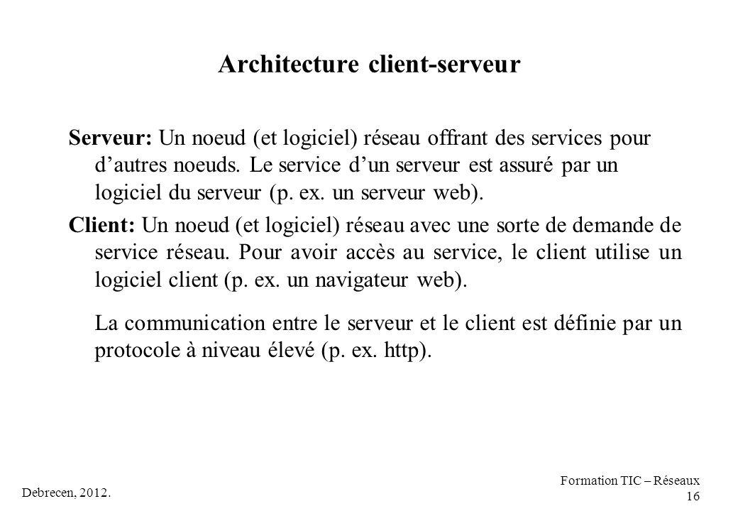 Debrecen, 2012. Formation TIC – Réseaux 16 Architecture client-serveur Serveur: Un noeud (et logiciel) réseau offrant des services pour d'autres noeud