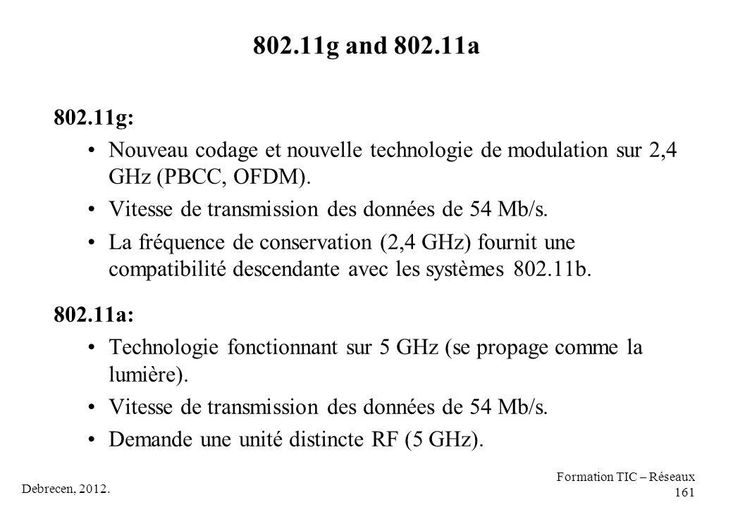 Debrecen, 2012. Formation TIC – Réseaux 161 802.11g and 802.11a 802.11g: Nouveau codage et nouvelle technologie de modulation sur 2,4 GHz (PBCC, OFDM)