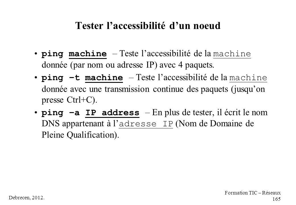 Debrecen, 2012. Formation TIC – Réseaux 165 Tester l'accessibilité d'un noeud ping machine – Teste l'accessibilité de la machine donnée (par nom ou ad