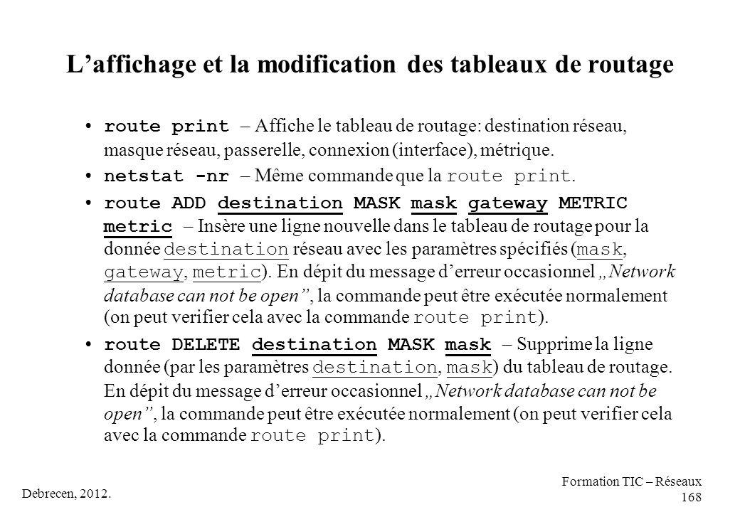 Debrecen, 2012. Formation TIC – Réseaux 168 L'affichage et la modification des tableaux de routage route print – Affiche le tableau de routage: destin