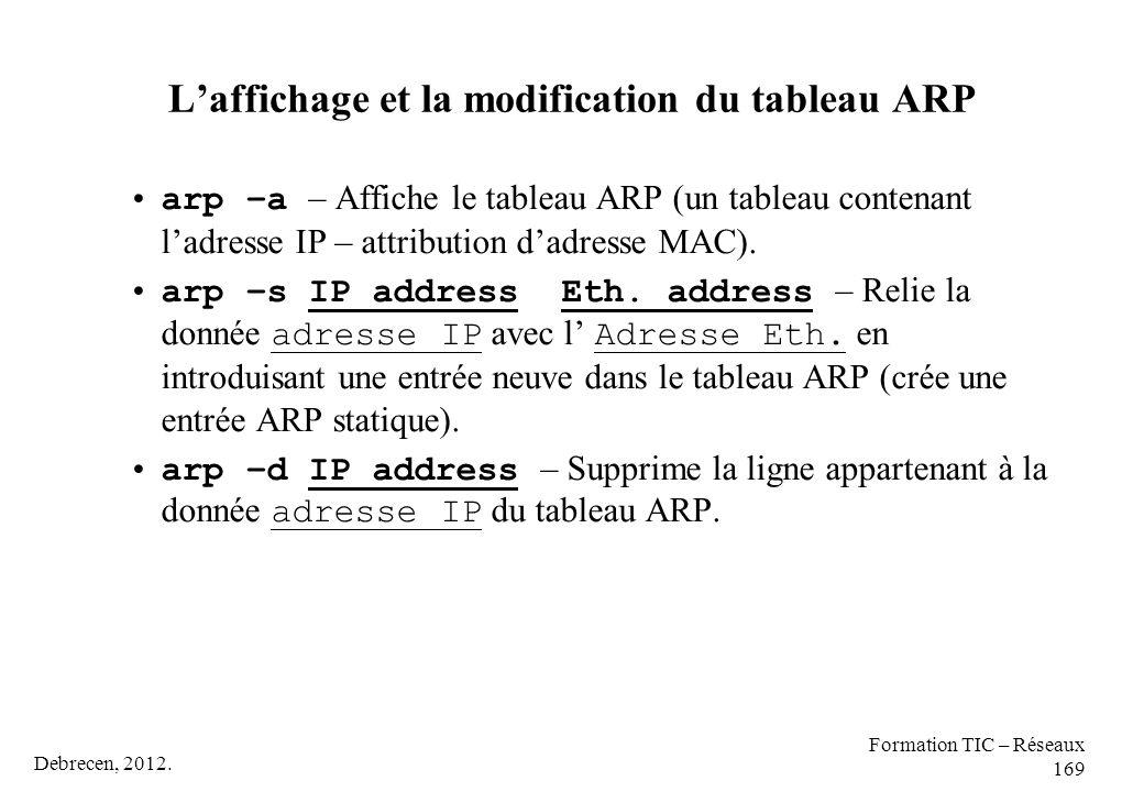 Debrecen, 2012. Formation TIC – Réseaux 169 L'affichage et la modification du tableau ARP arp –a – Affiche le tableau ARP (un tableau contenant l'adre