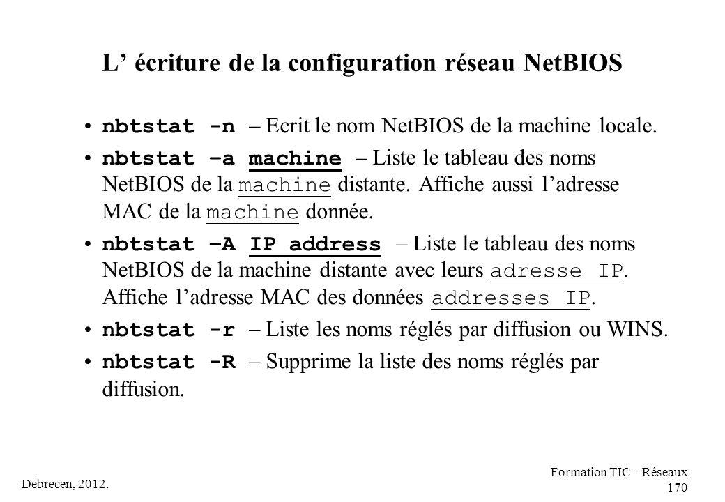 Debrecen, 2012. Formation TIC – Réseaux 170 L' écriture de la configuration réseau NetBIOS nbtstat -n – Ecrit le nom NetBIOS de la machine locale. nbt