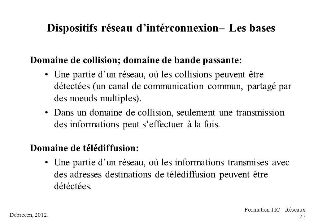 Debrecen, 2012. Formation TIC – Réseaux 27 Dispositifs réseau d'intérconnexion– Les bases Domaine de collision; domaine de bande passante: Une partie