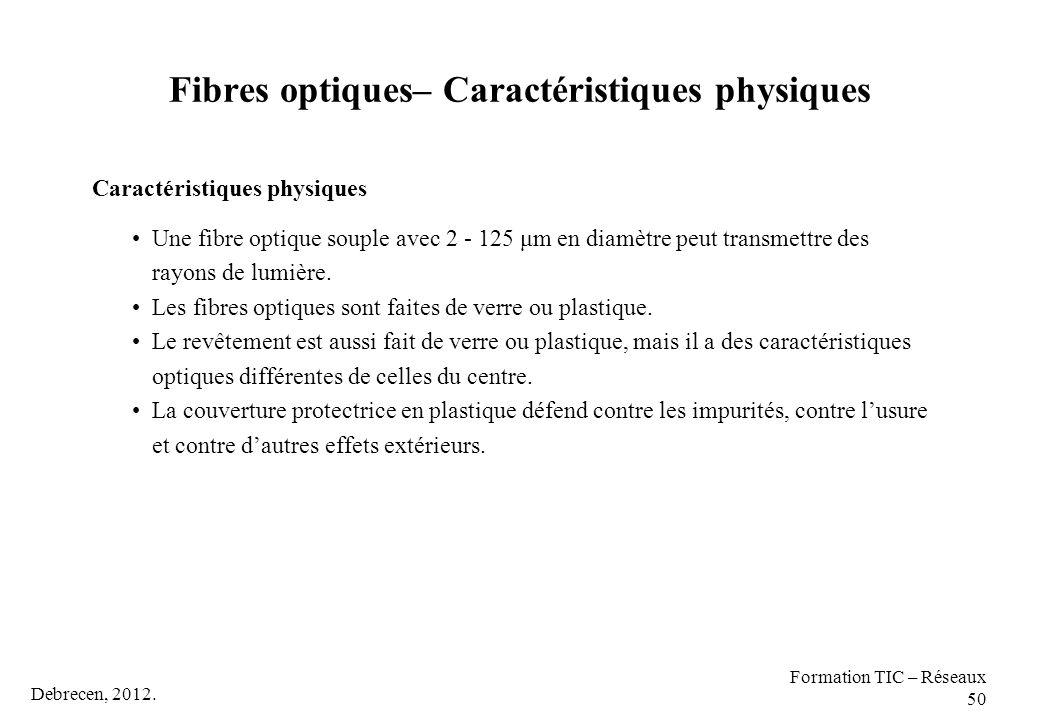 Debrecen, 2012. Formation TIC – Réseaux 50 Caractéristiques physiques Une fibre optique souple avec 2 - 125 μm en diamètre peut transmettre des rayons