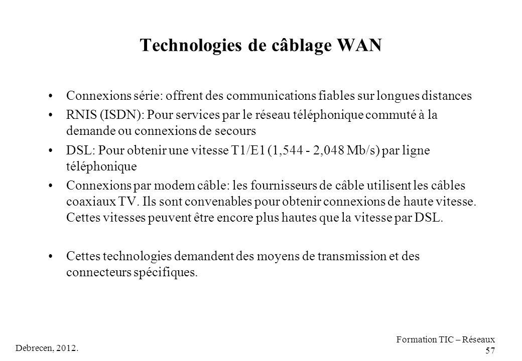 Debrecen, 2012. Formation TIC – Réseaux 57 Technologies de câblage WAN Connexions série: offrent des communications fiables sur longues distances RNIS