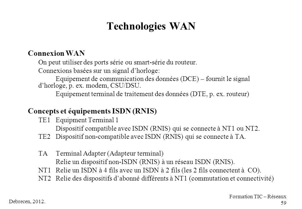 Debrecen, 2012. Formation TIC – Réseaux 59 Technologies WAN Connexion WAN On peut utiliser des ports série ou smart-série du routeur. Connexions basée