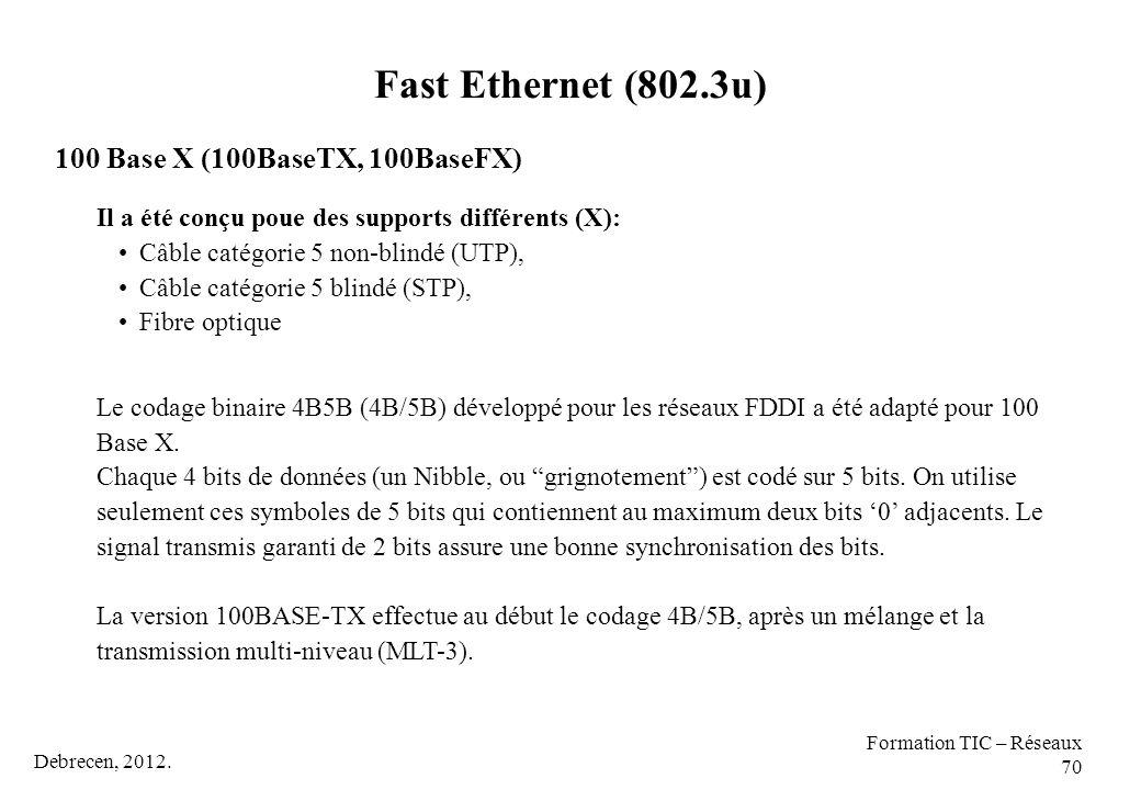 Debrecen, 2012. Formation TIC – Réseaux 70 100 Base X (100BaseTX, 100BaseFX) Il a été conçu poue des supports différents (X): Câble catégorie 5 non-bl