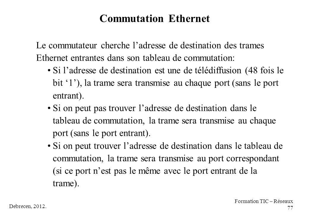 Debrecen, 2012. Formation TIC – Réseaux 77 Le commutateur cherche l'adresse de destination des trames Ethernet entrantes dans son tableau de commutati